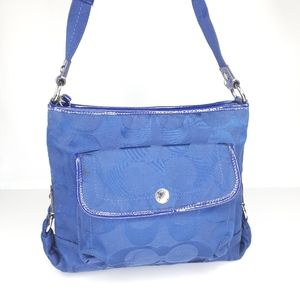 Coach Kyra F16550 Royal Blue Crossed Purse BAG